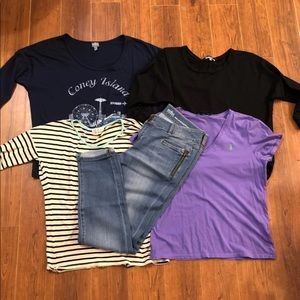 4 tops and 1 pair of soho New York jeans